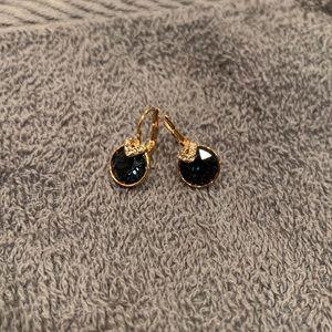 Swarovski Bella V Pierced Earrings Blue/Gold Tone